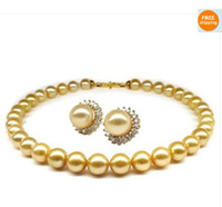 Wholesale Earrings South Sea Pearl Necklaces - HUGE10-13MM AUSTRALIAN SOUTH SEA NATURAL GOLD PEARL NECKLACE EARRING PERFECT AAA 20inches