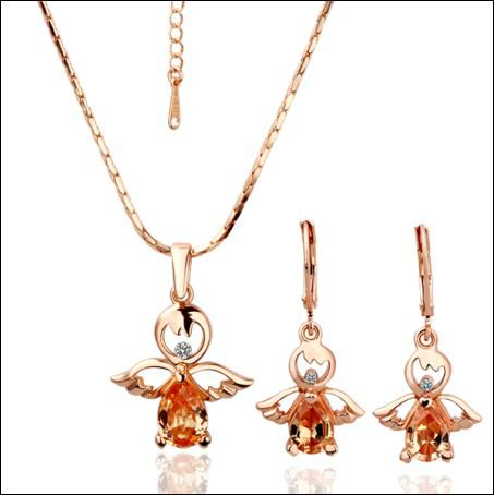 Free Shipping plated 18K Rose Gold CZ stone angel doll necklace Earrings Fashion Jewelry Set 5set
