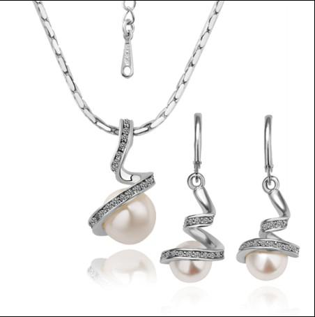 Hot new plated 18K white gold pearl necklace earrings jewelry set fashion gifts