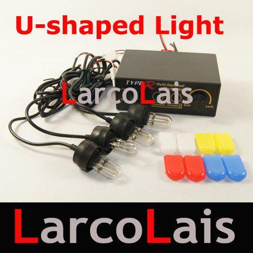 Lampe à éclats au xénon multifonctions Phare de feu arrière Hide-A-Way 12 V en forme de U à 4 ampoules de voiture Flash