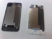 couverture iphone 4s blanc pomme achat en gros de-Couverture arrière de logement pour iphone 4S Glass Couverture de batterie arrière BLANC NOIR 100pcs EMS DHL livraison gratuite