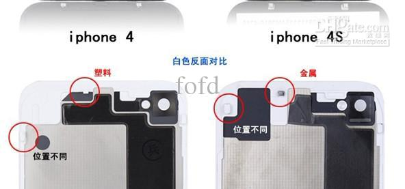 Back Housing cover for iphone 4S Glass Back Battery Cover WHITE BLACK 100pcs EMS DHL free shipping
