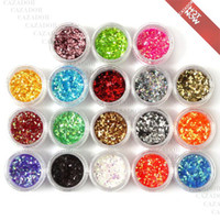 Wholesale Nail Art Paillette - The 18 Colored Nail Art Tiny Hexagon Glitter Paillette Powder Spangles Decoration For UV Nail (In Acrylic Box) G008 Free Shipping