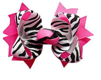 Wholesale Girl Zebra Accessories - Girls' hair accessories color Bows Baby bow zebra grosgrain ribbon bows Headbands bowknot 20PCS *ZRE