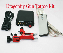 Wholesale Dragonfly Gun Kit - Tattoo Rotary Gun Kits Red Dragonfly Machine MIN Power Supply Footswitch Clip Cord For Tattoo Artist