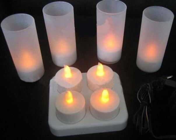 High-grade 4 LED rechargeable candle tea lights cafe bar candle lights romantic candle with cup