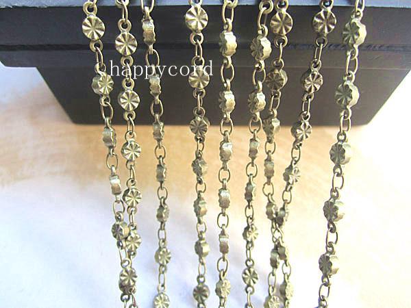 Nouveau Design Chaînes de collier de fleurs 3mm en bronze antique en bronze Pour la fabrication de bijoux 16 pieds /