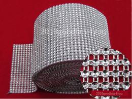 Wholesale Diamond Mesh Roll Rhinestone - 5 Yard Bendable Diamond Mesh Wrap Roll Silver Sparkle Rhinestone Crystal Ribbon