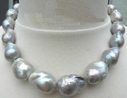 "진주 보석 정품 HUG18 ""22-25MM NATUREAL SEA BAROQUE GREY PEARL NECKLACE 14K"
