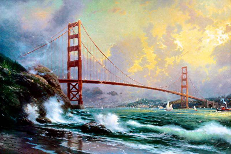 2019 oil on canvas ocean waves oil painting golden gate bridge san
