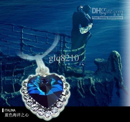 Coeur de luxe de l'océan pêche coeur cristal colliers cristal pierres précieuses pendentif bijoux femmes nouvelle arrivée cadeaux de noël