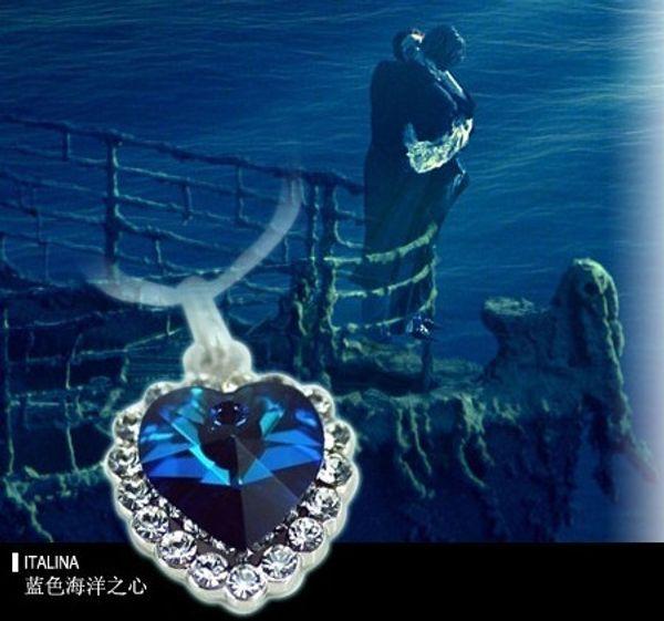 Vintage Austria Crystal Gemstones Heart of Ocean Pendant Necklaces Stylish luxury Women's Xmas gift 15pcs/lot