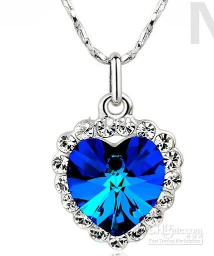 Vintage Austria Crystal Gemstones Heart of Ocean Pendant Necklaces Stylish luxury Women's Xmas gift