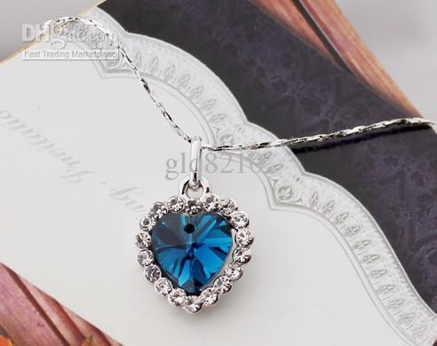 Las piedras preciosas cristalinas de Austria del corazón de la vendimia del océano collares pendientes elegante regalo de Navidad de las mujeres de lujo /