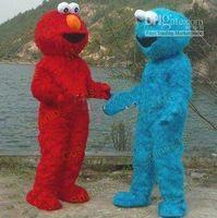 Wholesale Elmo Cartoon Mascot - 2pcs lot Cartoon Character Costume Couple Sesame Street Cookie and ELMO Mascot Costume Adult Cartoon Costumes