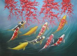 Pittura a olio di pesce koi online-Feng Shui pittura arte Giapponese Koi pesce pittura a olio su tela dipinto a mano home office wall art decor