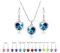 Wholesale Crystal Heart Ocean Titanic - 10set Crystal Heart Of Ocean Titanic Necklace Pandant Earrings Set 7 Colors For Pick