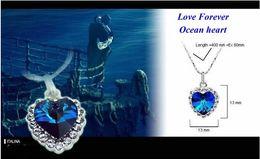 Wholesale Ocean Heart Sets - 20Set Crystal Heart Of Ocean Titanic Necklace Pandant Earrings Set 7 Colors For Pick