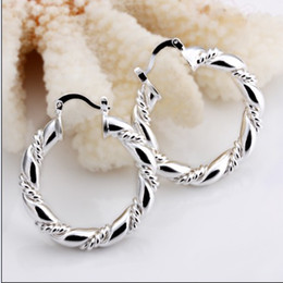 Wholesale Sterling Loop Earrings - 100% new high quality 925 silver twisted loops hoop earrings fashion Ladies jewelry free shipping