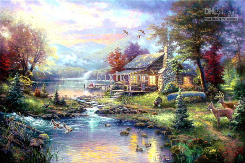 gift landscape oil painting nature s paradise by thomas kinkade