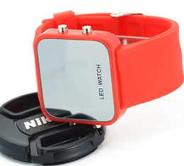 Wholesale Square Silicon Watches - HOT! 12 Colors LED Digital Mirror Jelly Silicon Unisex Casual Sport Wrist Watch,silicone watch