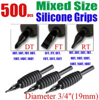 """Wholesale Tattoo Mix Disposable Tubes - Solong Tattoo 500 x Disposable Black Tattoo Grips Tube Assorted Mixed Size for Needle Ink Kit 3 4"""" (19mm) G401-500"""