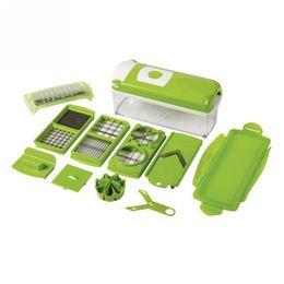 Wholesale Dicer Plus - NEW Green Vegetable Nicer Dicer Plus 10-piece Multi-Chopper Fruit Slicer 12pcs lot