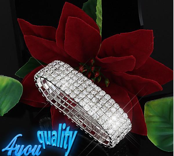 5Ons Clear Sparkle Rhinestone Elastische armband manchet voor bruiloft bruids accessoires