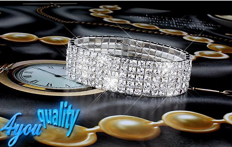 5Rows Clear Sparkle Rhinestone Elastyczna Bransoletka Mankiet do weselnych Akcesoriów Bridal