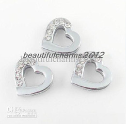 Wholesale Leash Accessories - Wholesale 8mm 100pcs Half rhinestone Heart Slide Charm Accessories