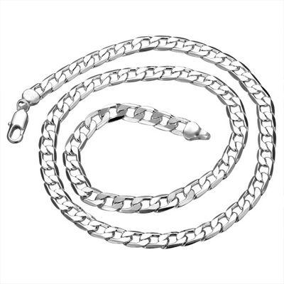 Silver Jewelry Figaro Chains 925 Silver Curb Necklace 20inch Width 8mm , Fashion Silver Jewelry Necklaces N034