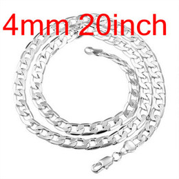 $enCountryForm.capitalKeyWord NZ - Figaro Chains 925 Silver Flated Curb Chain Necklace 20inch 4mm , Fashion Silver Jewelry Men's Necklaces 10Pcs N132