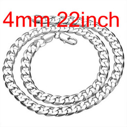 Wholesale figaro ship - Men's Figaro Chains 925 Silver Flated Curb Necklace 22inch 4mm , Fashion Silver Jewelry Necklaces 10Pcs Free Shipping N132
