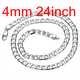 Wholesale Chain 4mm - Men's Figaro Chains 925 Silver Flated Curb Necklace 24inch(60cm) Width 4mm , Fashion Silver Jewelry Necklaces 10Pcs Free Shipping N132