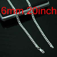 Wholesale Silver Figaro Chains 6mm - Men's Jewelry Figaro Chains 925 Silver Necklace 20inch 6mm , Fashion Jewelry Chains Chokers Necklaces 10Pcs N047