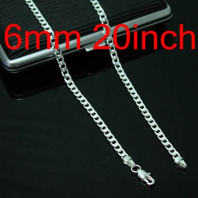 Men's Jewelry Figaro Chains 925 Silver Necklace 20inch 6mm , Fashion Jewelry Chains Chokers Necklaces 10Pcs N047