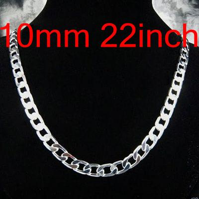 Design Jewelry Figaro Chains 925 Silver Curb Necklace 22inch 24inch 10mm , Fashion Silver Jewelry Chokers Necklaces 10Pcs N005