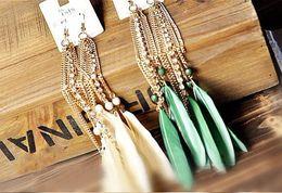 Wholesale Long Evening Earrings - wholesale-Fashion Earrings Fashion jewelry evening dress feather earrings long feather earrings LX1