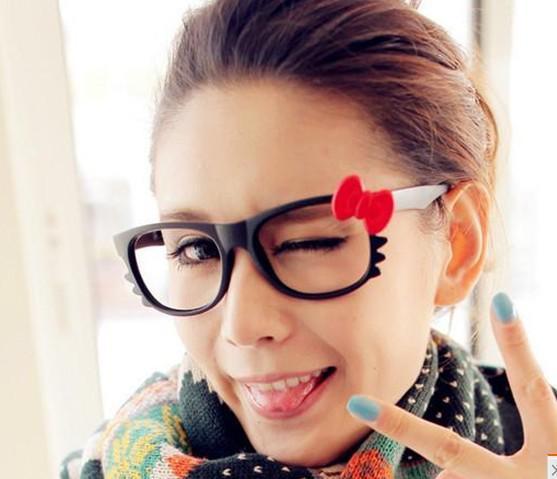 Häftigt !! Hot New Brand Bow Style Glasses Ram Lovely Fashion Fashion Solglasögon Ramar Mode Tillbehör Gratis frakt