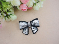 "Wholesale Embroidered Hair Clip - Trial order 1.8"" Mini Embroidered Sequin Bows Hair Clip Sparkle Sequin Bow Girl Baby Clips100pcs lot"