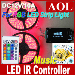 Wholesale 12v Audio Controller Led - 1pcs 24Keys MUSIC IR Remote Controller for SMD 3528 5050 RGB LED Strips 12V 10A Audio Controller