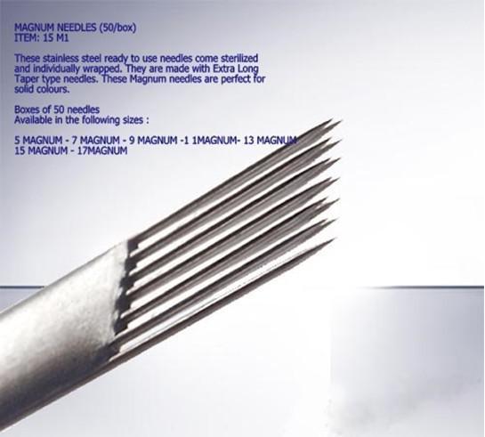 50x 9M1 Aghi tatuaggio prefabbricati Monotubo Magnum 9 Taglia sterilizzato con ago tatuaggio