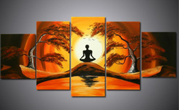 Wholesale Wall Canvas African - oil painting canvas African Landscape painting Meditation handmade office hotel home wall art decor