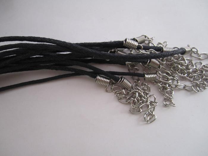 17-19 polegada 1.5mm ajustável preto cordão de algodão encerado colar com fecho da lagosta 100 pçs / lote