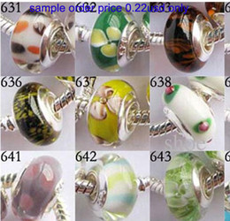 Wholesale Wholesale Single Silver Core Beads - 30pcs Murano Glass Beads charms silver plated single core bead Charm mix 15 styles