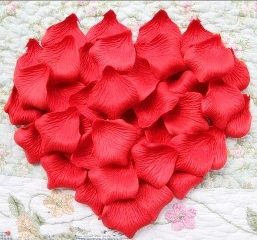 1000 adet Kırmızı / Pembe / Mor ipek gül yaprağı yaprakları düğün parti dekorasyon şekeri