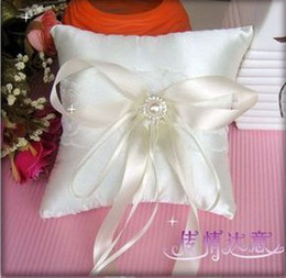 Wholesale Ivory Wedding Ring Pillow Sets - 15cm*15cm Square Perfect Wedding,Ivory Satin Ring Pillow 1PCS With Free Shipping For Wedding Decoration Use