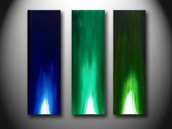 oil painting abstract Blue Green painting Huge Bar decor hand painted modern home decor wall art new