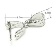 fianzas de plata esterlina al por mayor-10 unids / lote 925 Sterling Silver Pinch Clip Bail para DIY Craft joyería de moda Gfit envío gratis WP074