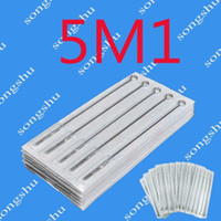 Wholesale Magnum Tips - 50x 5M1 Tattoo Sterilized Needles Single Stack Magnum 5 Size Needle For Tattoo Kits Gun Tips Pro